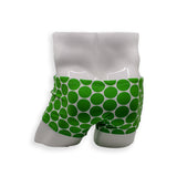 Mens Swimsuit Box Cut Swim Trunk in Green Polka Dot print for Swimming Aesthetic Bodybuilding Posing or Mens Pole Dance