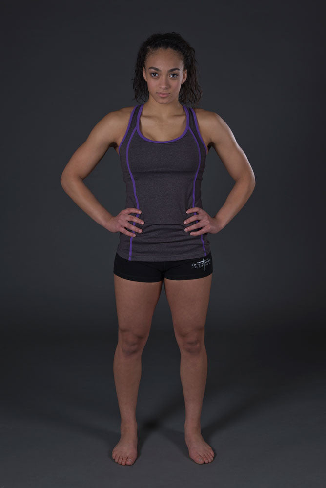 HAC Holmes Athletics Canada Jenn Racerback Support Tank Heather Grey/Purple Front