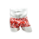 HAC Swim Mens Swimsuit Box Cut Swim Trunk in Maple Leaves Print for Swimming Aesthetic Bodybuilding Posing or Mens Pole Dance
