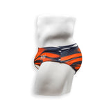 Mens Swimsuit Basic Swim Brief in Monarch Orange Print for Swimming Aesthetic Bodybuilding Posing or Mens Pole Dance