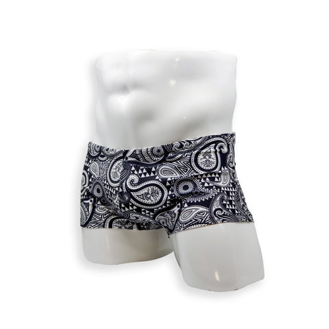 Men's Box Cut Swim Trunk in Paisley Print