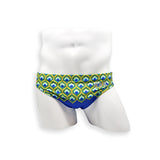 Mens Swimsuit 2 Inch Side Swim Brief in Peacock Print for Swimming Aesthetic Bodybuilding Posing or Mens Pole Dance