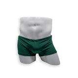 Mens Swimsuit Box Cut Swim Trunk in Pine Green for Swimming Aesthetic Bodybuilding Posing or Mens Pole Dance