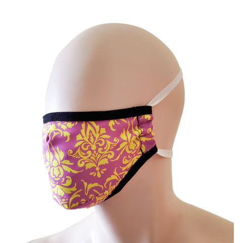 Fabric Face Mask - Pink Damask