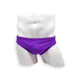 Mens Swimsuit 2 Inch Side Swim Brief in Purple Coin Print for Swimming Aesthetic Bodybuilding Posing or Mens Pole Dance