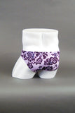 "HAC Swim 2"" Side Flat Front Swim Brief - Makena Purple Flowers Rear"