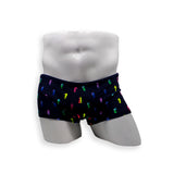 Mens Swimsuit Box Cut Swim Trunk in Rainbow Seahorses print for swimming aesthetic posing or pole dance