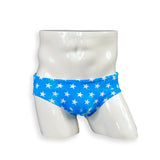 Mens Swimsuit Swim Brief in Vintage Star Print for Swimming Aesthetic Bodybuilding Posing or Mens Pole Dance