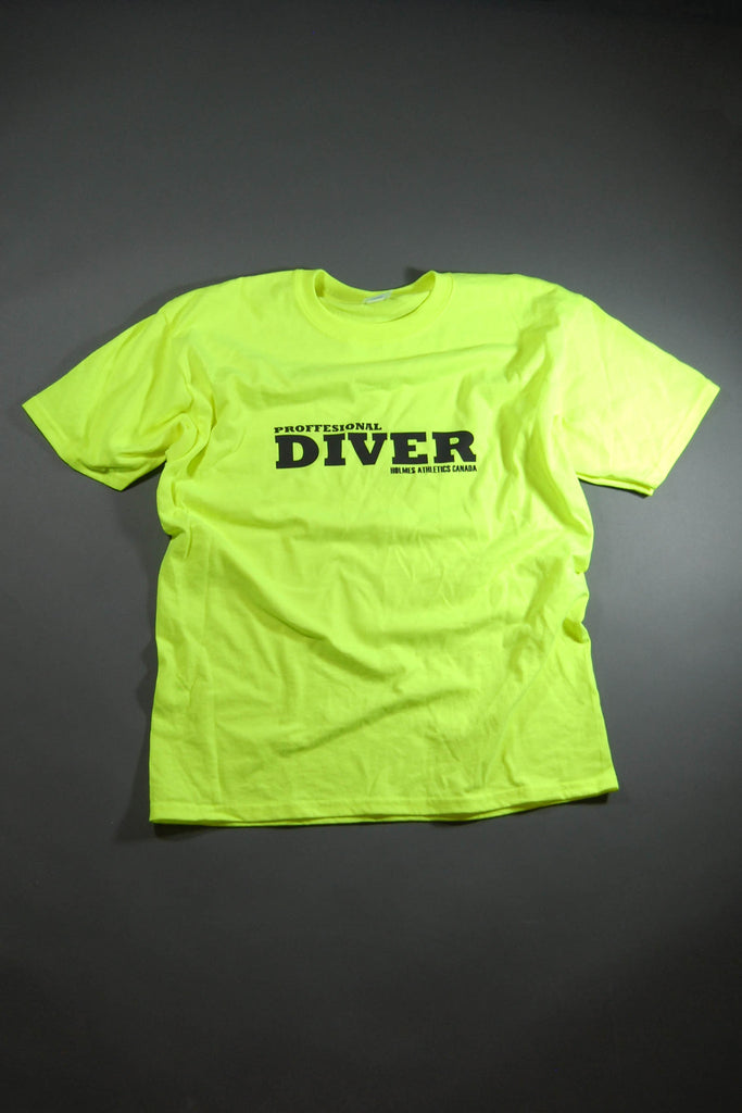 HAC Holmes Athletics Canada Neon Yellow Professional Diver Graphic T-Shirt