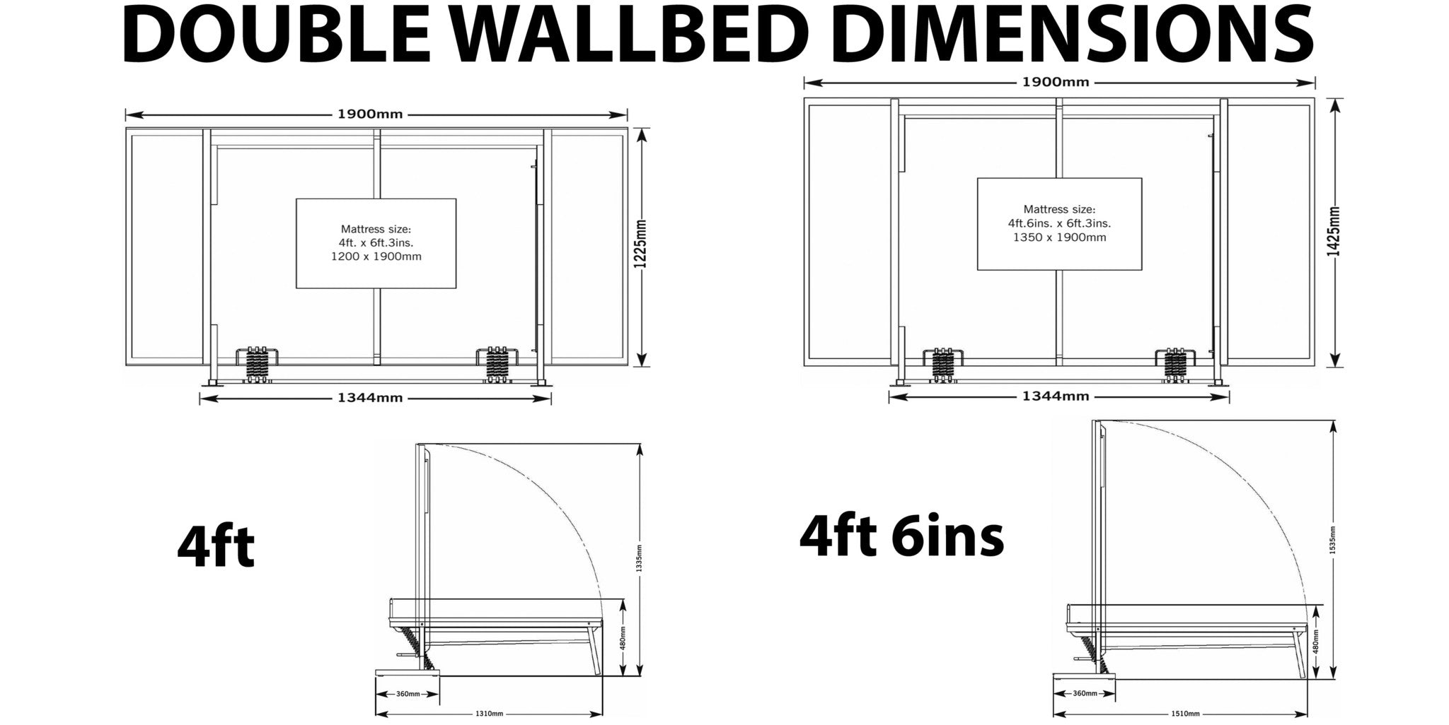Wall bed wiskaway king horizontal wall beds direct uk for Blueprint sizes