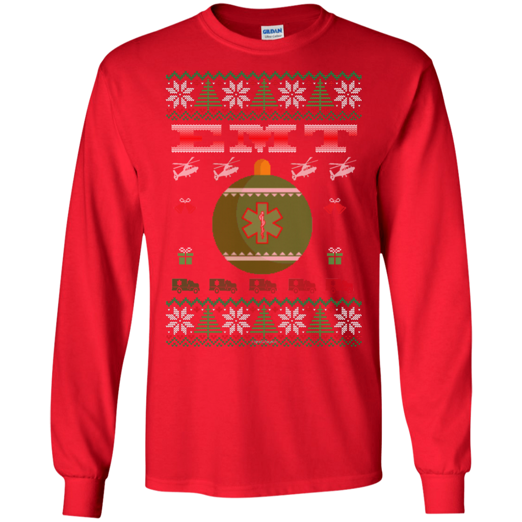 EMT Ugly Sweater Gildan Unisex LS Ultra Cotton T-Shirt