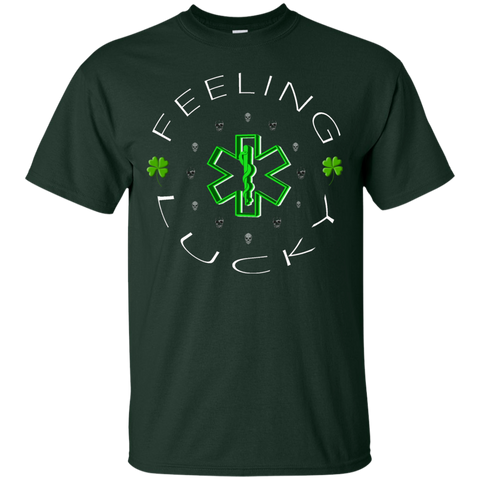 Feeling Lucky Shamrocks and Skulls Gildan Unisex Ultra Cotton T-Shirt