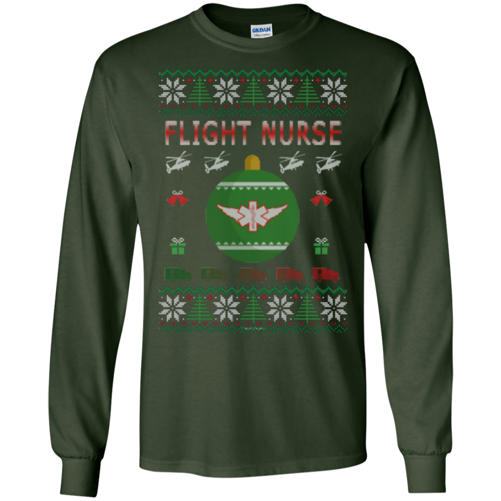Flight Nurse Ugly Sweater Gildan Unisex LS Ultra Cotton T-Shirt
