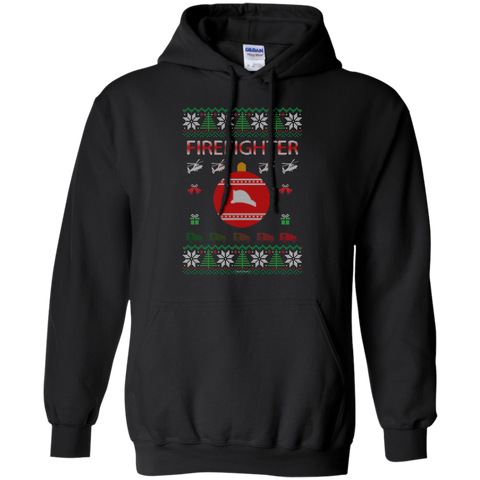 Firefighter Ugly Sweater Gildan Pullover Hoodie 8 oz.