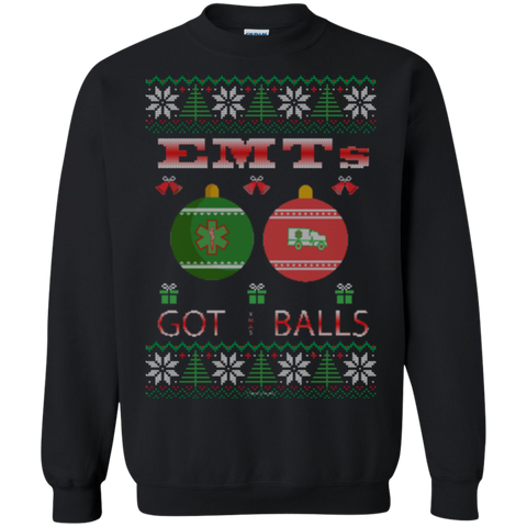 EMTs Got Balls Ugly Sweater Gildan Crewneck Pullover Sweatshirt  8 oz.