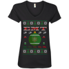 Image of EMT Ugly Sweater Anvil Ladies' V-Neck T-Shirt
