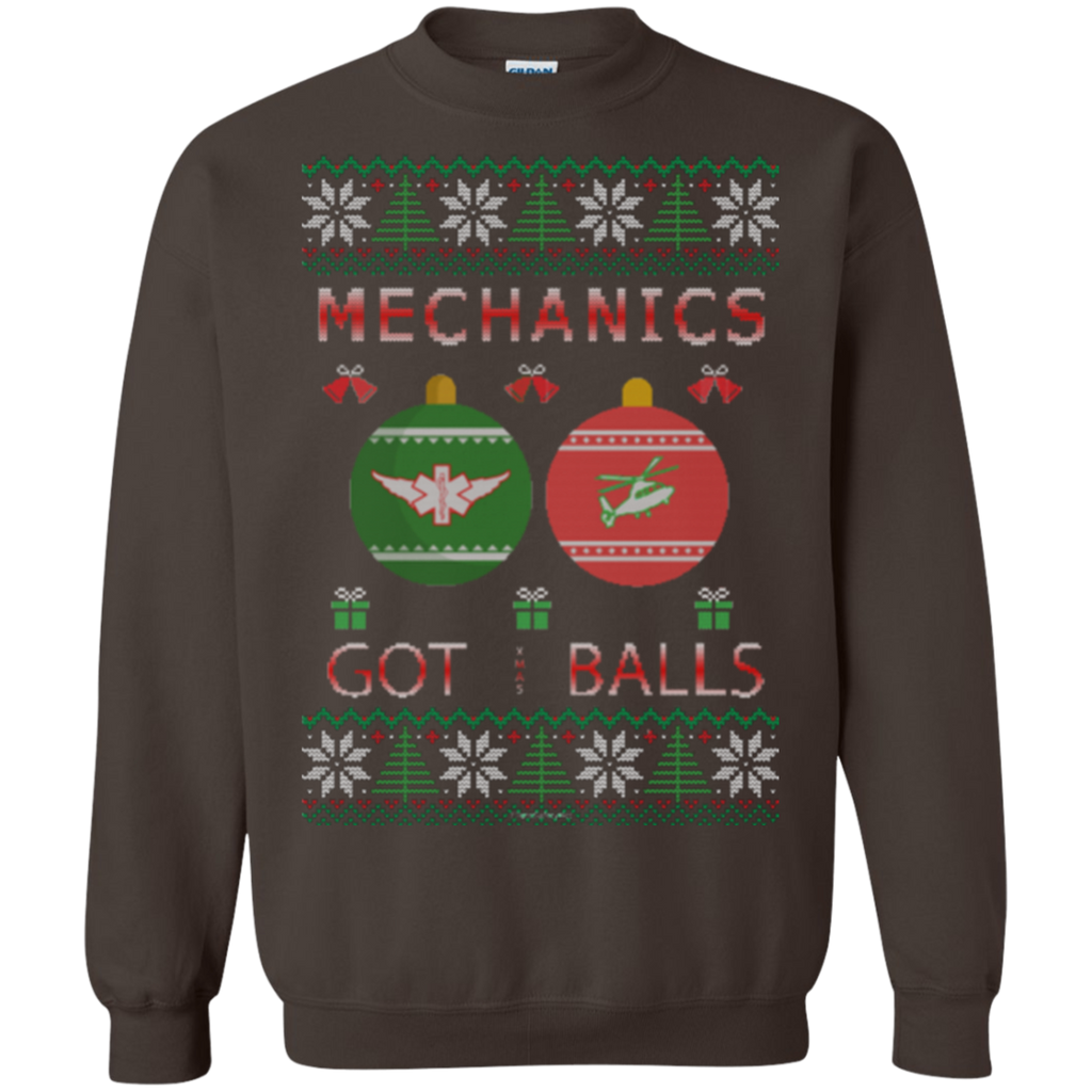 Mechanics Got Balls Ugly Sweater Gildan Crewneck Pullover Sweatshirt  8 oz.