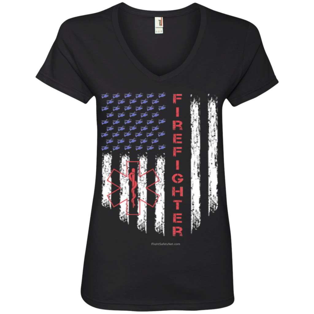 American Firefighter Pride Anvil Ladies' V-Neck T-Shirt