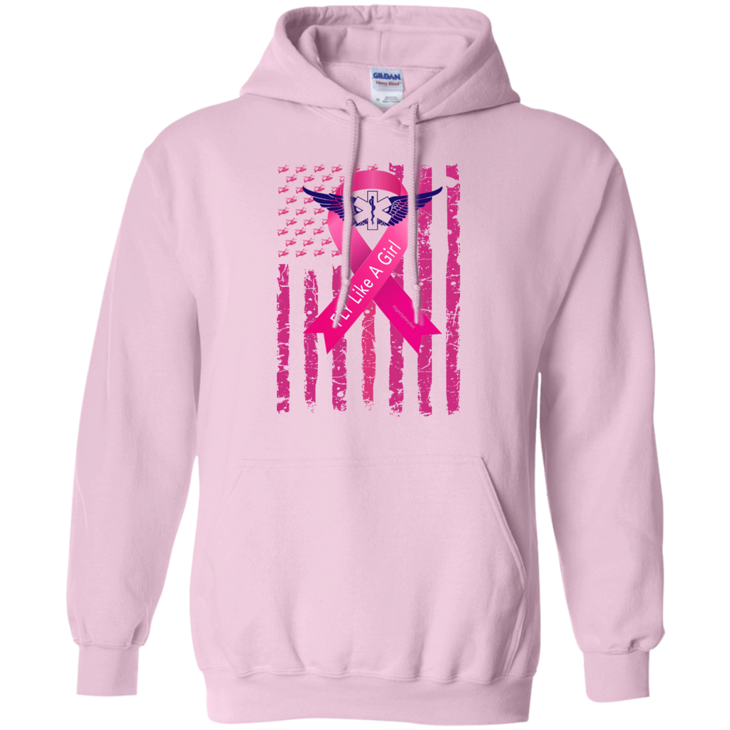 Fly-Like-A-Girl Breast Cancer Awareness Gildan Pullover Hoodie 8 oz.