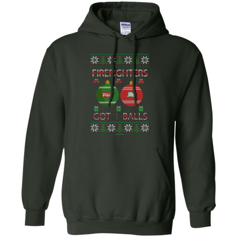 Firefighters Got Balls Ugly Sweater Gildan Pullover Hoodie 8 oz.