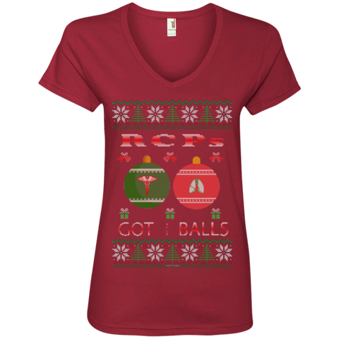 RCPs Got Balls Ugly Sweater Anvil Ladies' V-Neck T-Shirt