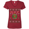 Image of RCP Ugly Sweater Anvil Ladies' V-Neck T-Shirt
