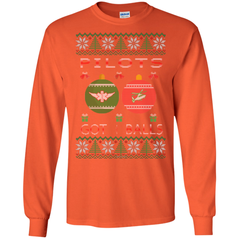 Pilots Got Balls Ugly Sweater Gildan Unisex LS Ultra Cotton T-Shirt