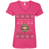 Image of Flight Doc Ugly Sweater Anvil Ladies' V-Neck T-Shirt