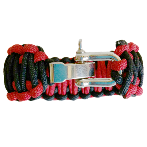 Paracord Survival Bracelet with Adjustable Stainless Steel D Shackle - Flight Medic Edition