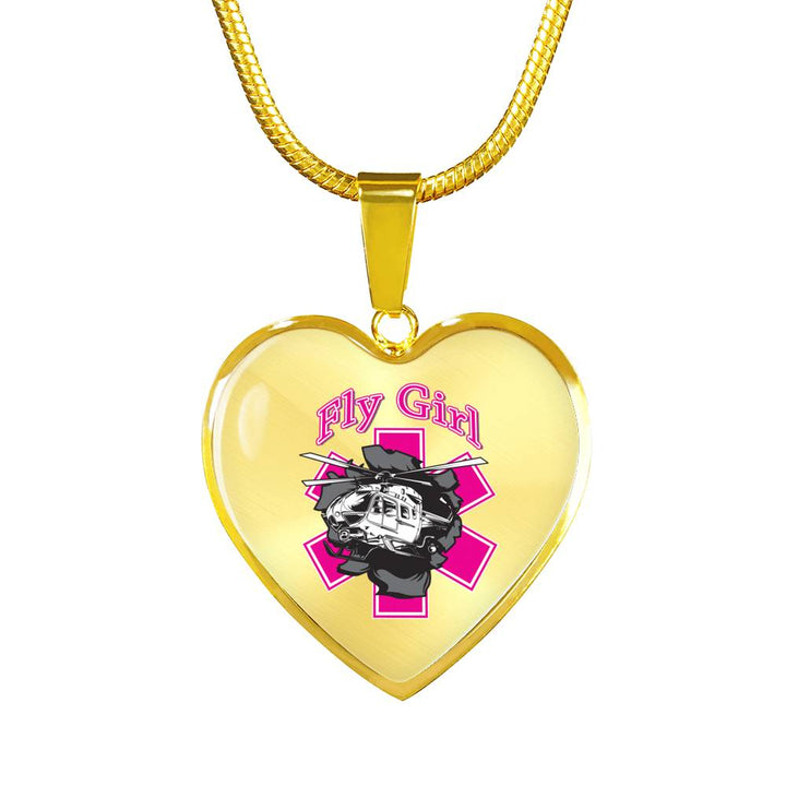 Fly Girl EMS Helicopter Hand Made in the USA Luxury Necklace with Custom Engraving