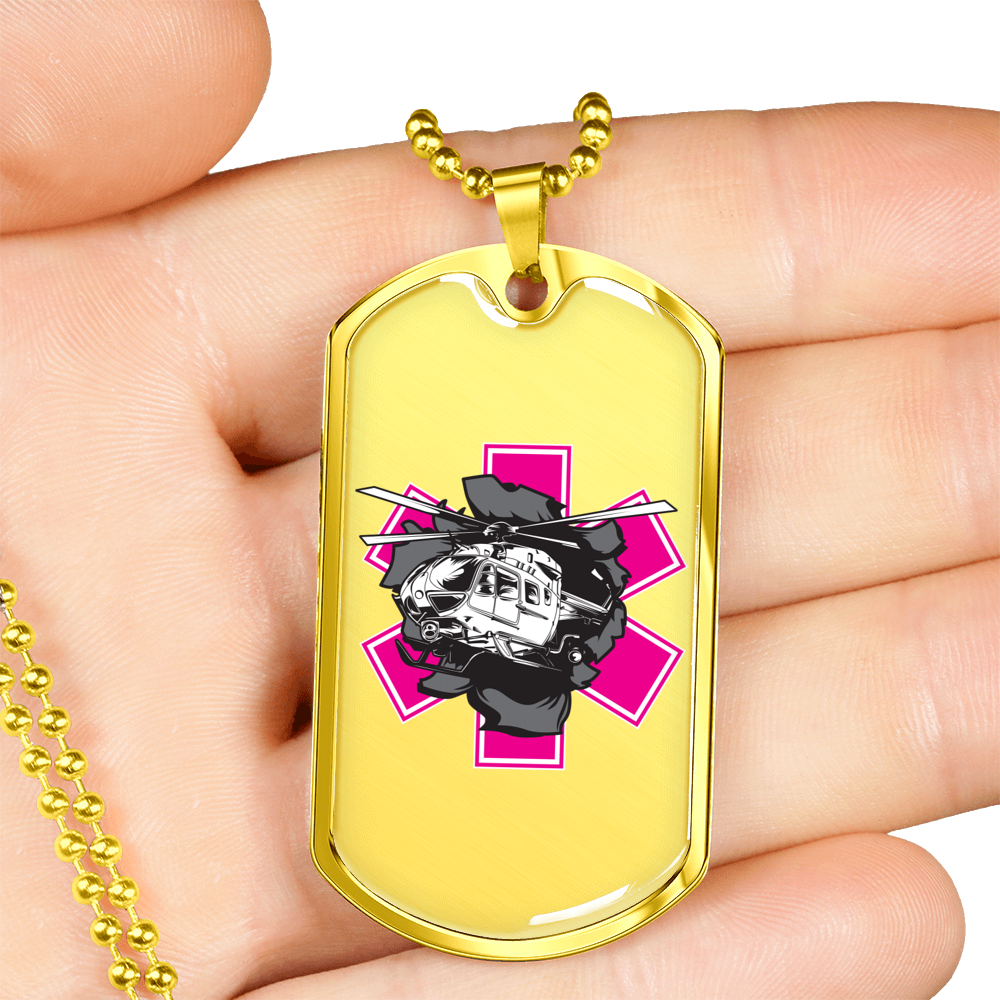 Fly Girl Pink Star of Life Helicopter Breakout Military Style ID Tag