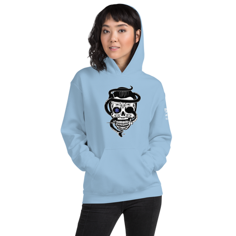 Star of Life Sugar Skull, with Elvis Hair, Snake & Syringe Unisex Hoodie
