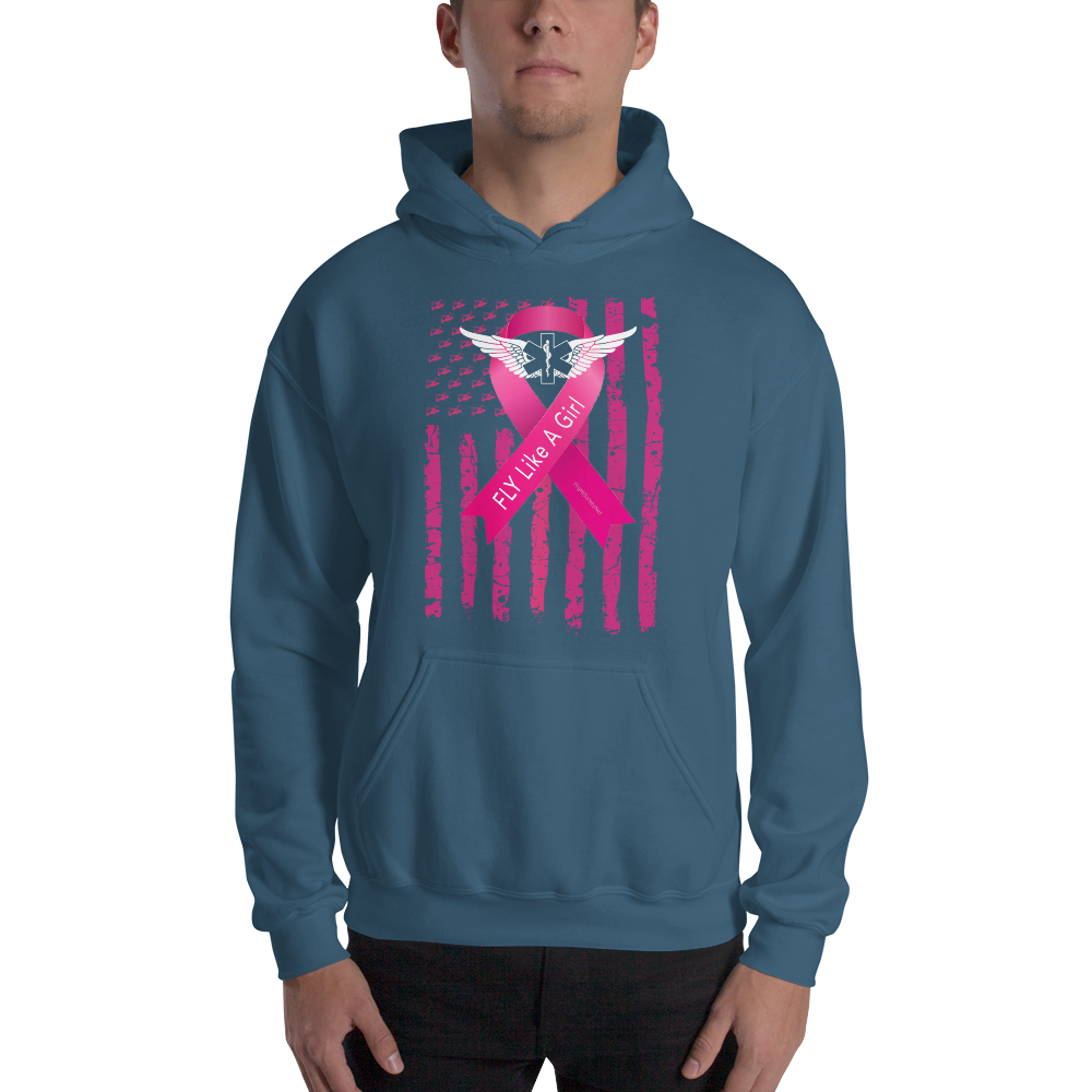 Fly Like A Girl Breast Cancer Awareness Gildan Pullover Hoodie 8 oz