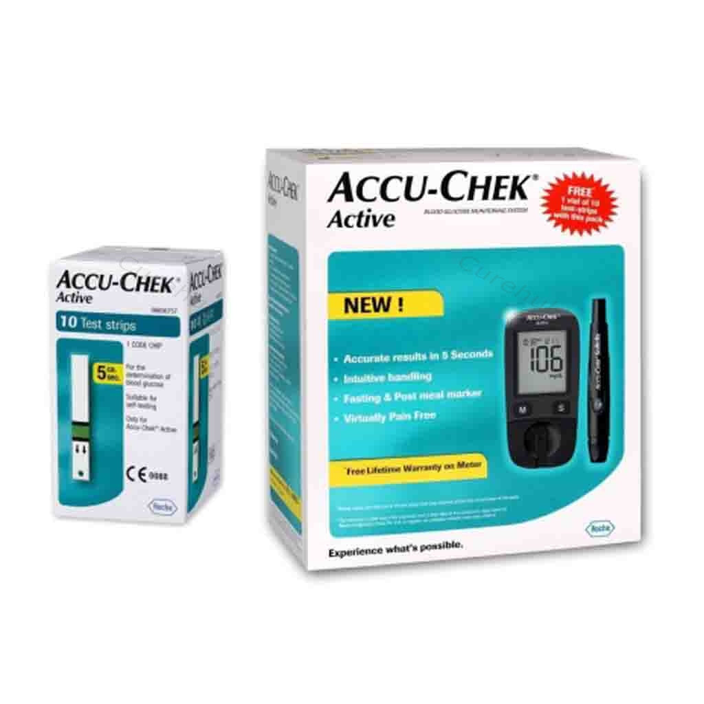 Accu Chek Active Glucose Monitor with 10 Strips Free