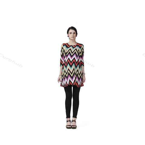 Radiation Safe- Comfortable Round Neck Print Tunic Maternity Dress Multicolor Print