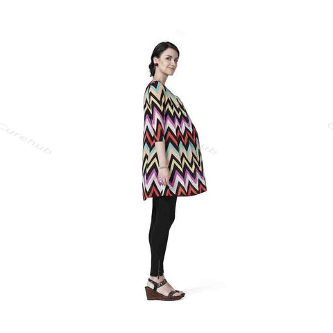 Radiation Safe- Comfortable Round Neck Print Tunic Maternity Dress Multicolor Print(5pcs)
