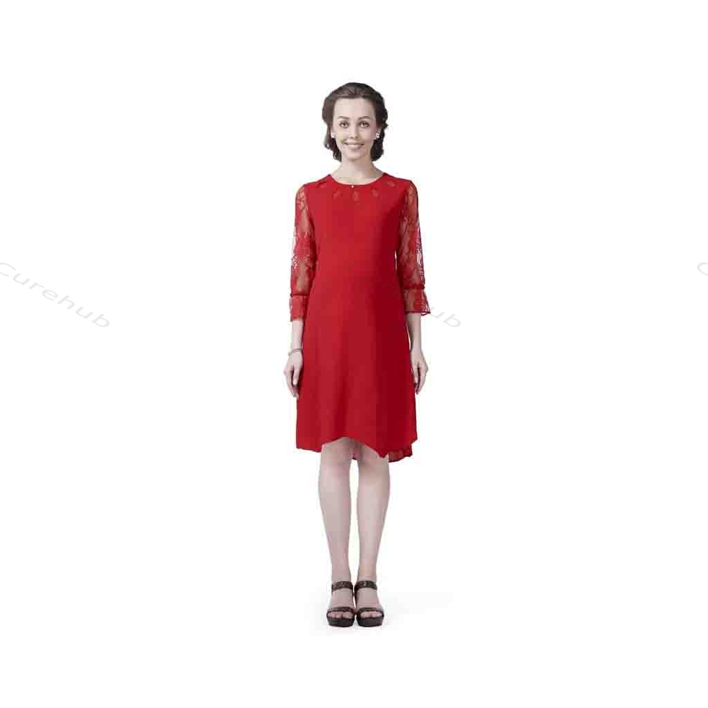 Radiation Safe-Stylish Cutwork Neckline Maternity Dress Red