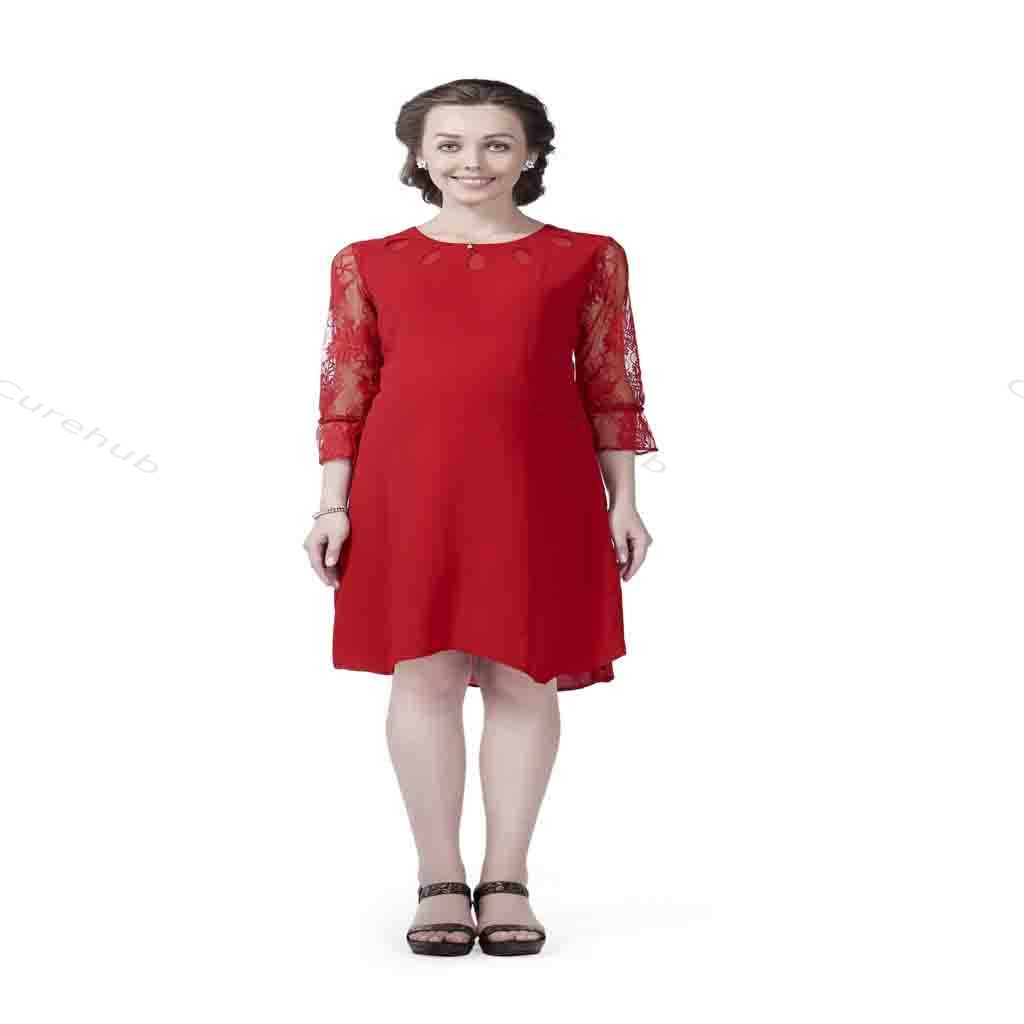 Radiation Safe Stylish Cutwork Neckline Maternity Dress 9m Red