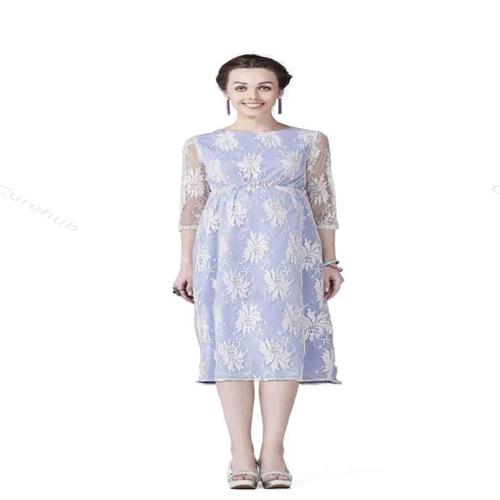 Radiation Safe Comfortable Contrasting Lace Maternity Dress White & Blue(5pcs)