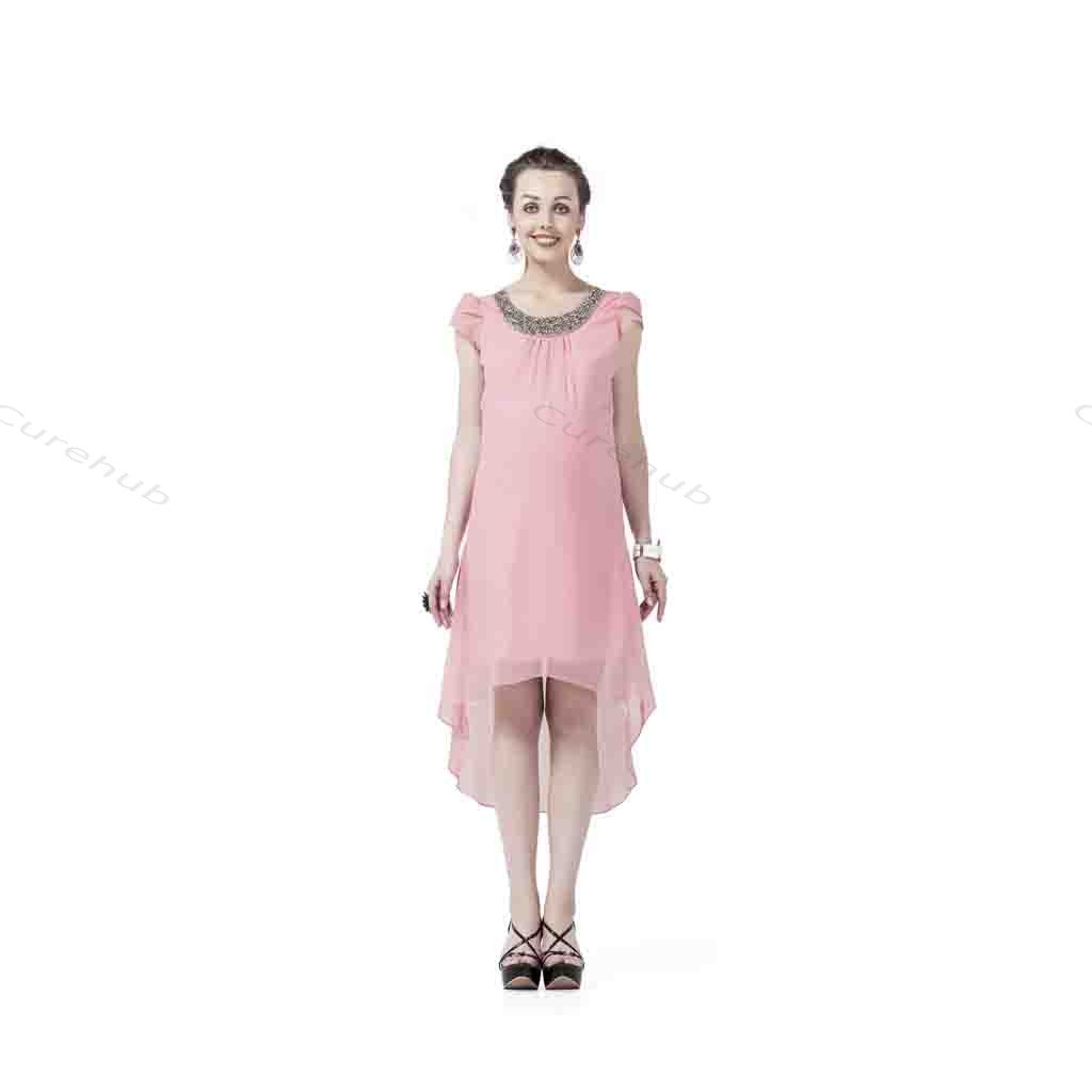 Radiation Safe-Silver Stone Embroidery Stylish Maternity Dress Pink(5pcs)