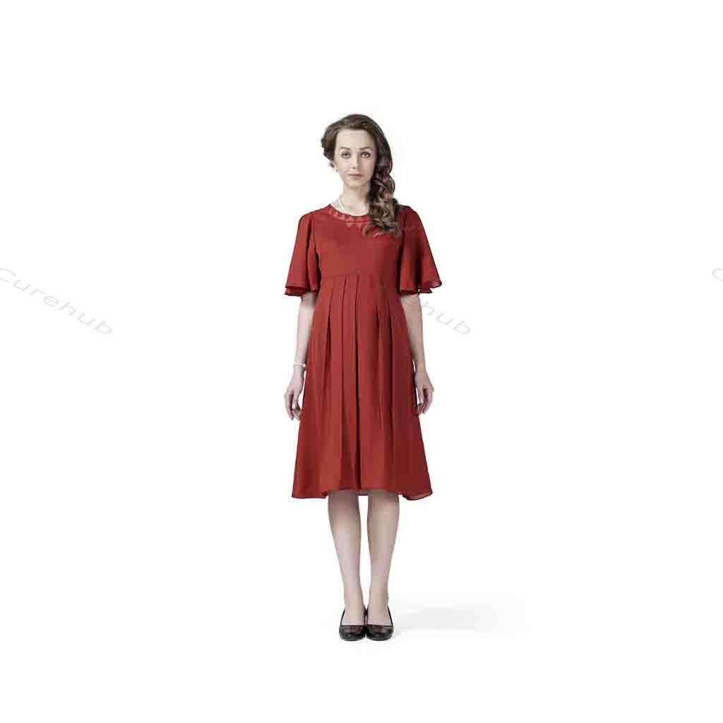 Radiation Safe- Comfortable Knee Length Maternity Dress With Flare Sleeves Rust