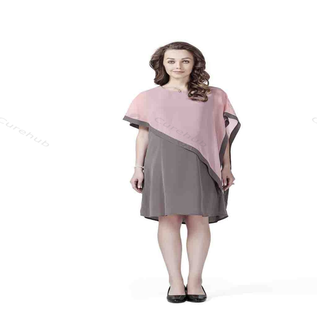 Radiation Safe Stylish Comfortable Round Dress With A Cape 9m Grey & Pink