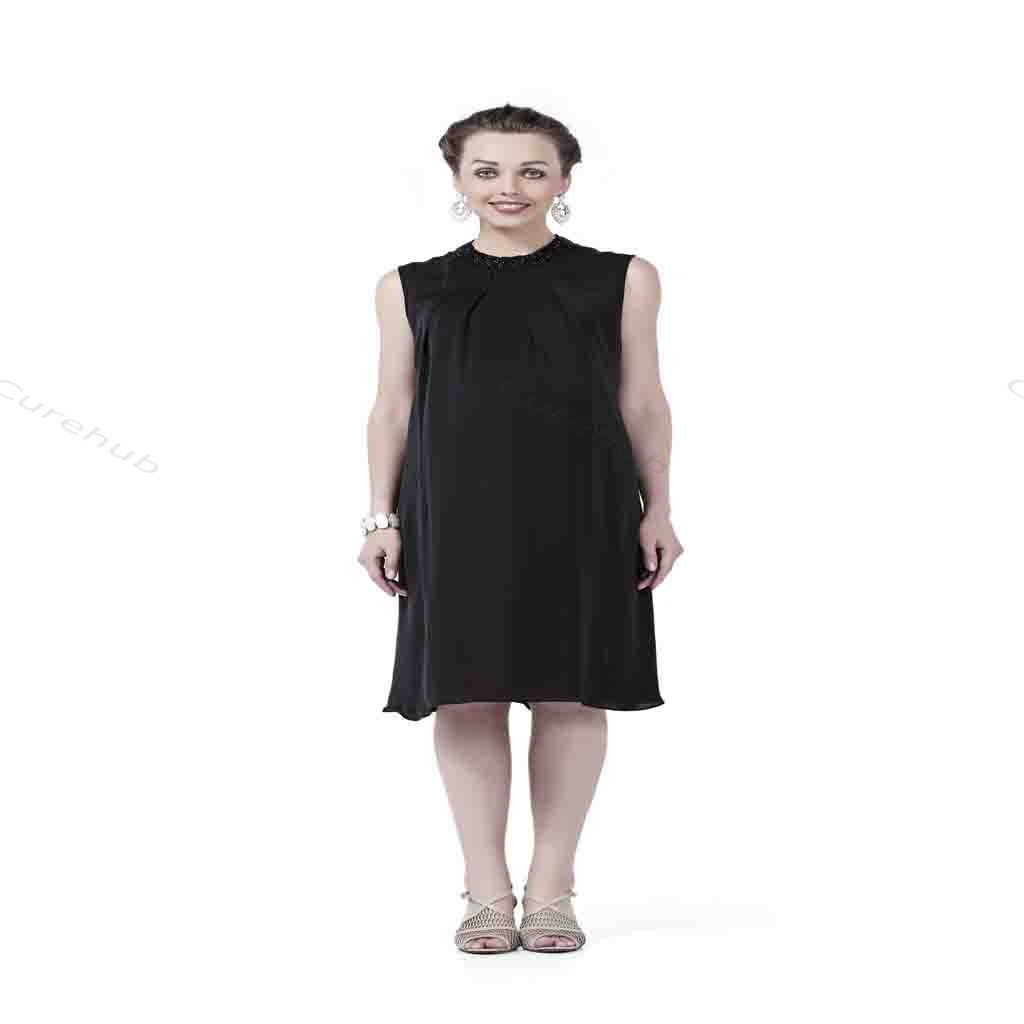 Radiation Safe Comfortable Sequin High Neck Knee Length Maternity Dress Black