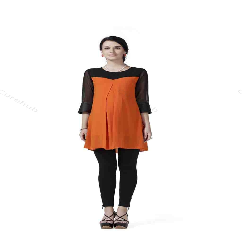 Radiation Safe Stylish And Comfortable Maternity Tunic With Leather Cuffs On Sleeves 6m Orange & Black