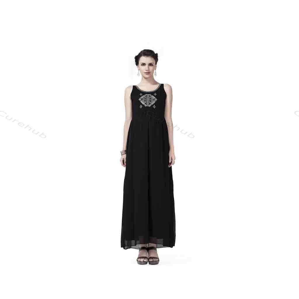 Radiation Safe Gold Emb Long Dress Black