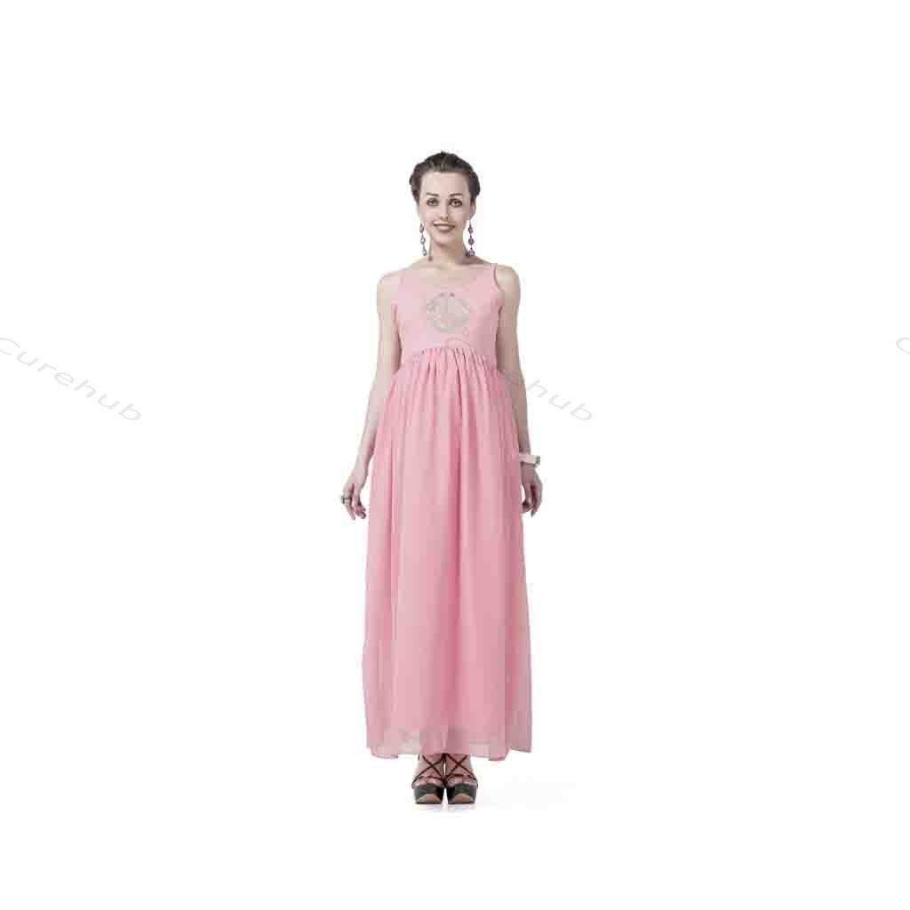 Radiation Safe Gold Emb Long Dress Pink
