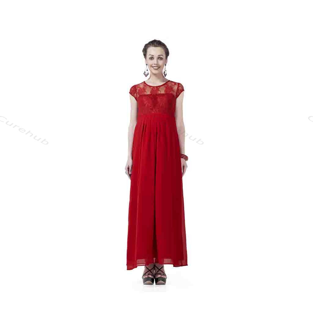 Radiation Safe Lace & Georgette Long Dress Red