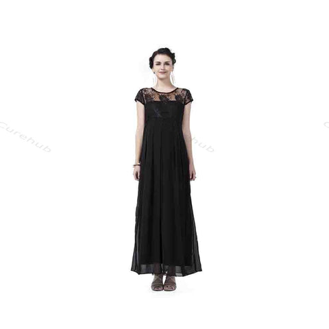 Radiation Safe Lace & Georgette Long Dress Black
