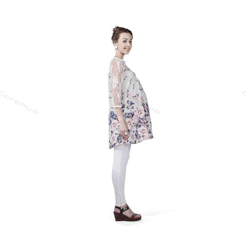 Radiation Safe Lace Yoke & Sleeve Tunic Multicolor Print
