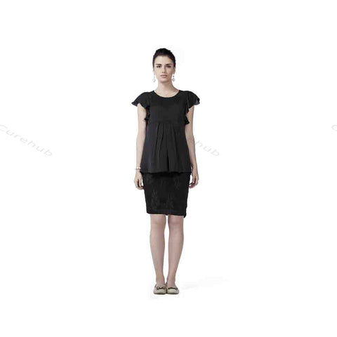 Radiation Safe Satin Georgette Top And Lace Skirt Black
